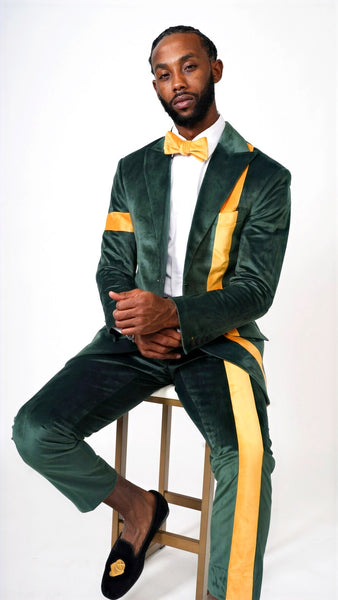 "Velvet ""Line it up suit"" Emerald & Gold  W/ Bow tie"