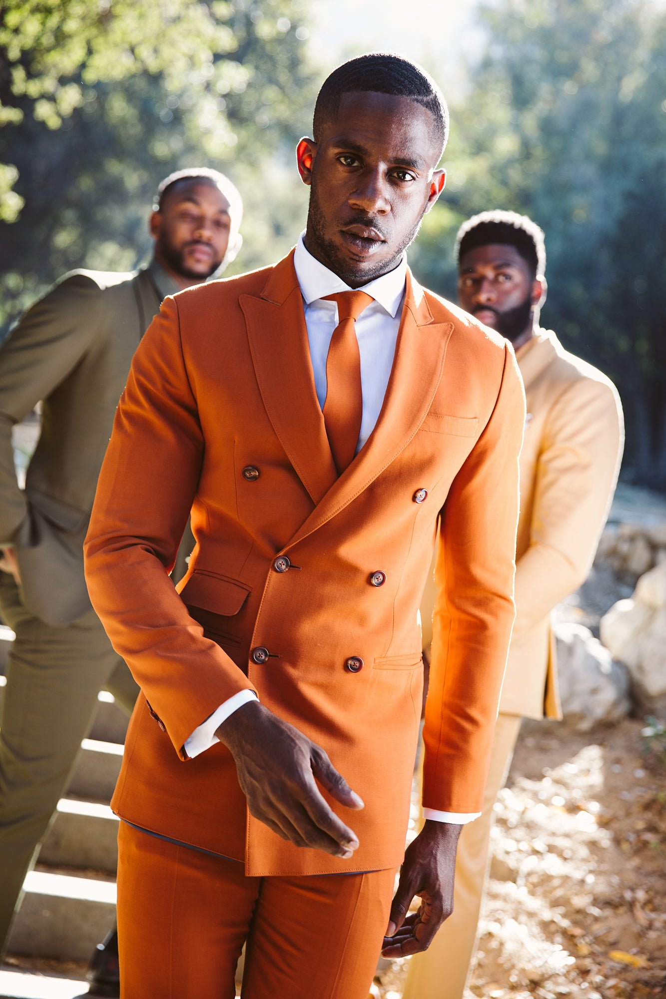 Vermillion Orange Double breasted Suit