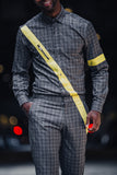 "Unisex ""Half the battle "" set Gray Plaid & yellow"