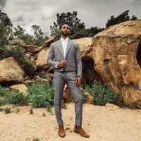 Gray cropped double breast peak lapel suit