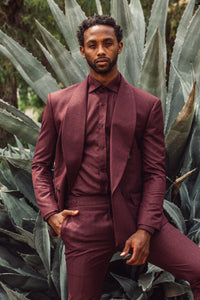 Bordeaux shawl collar double breast three piece suit