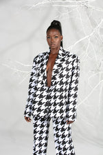 Womens Double-Breast Houndstooth Summer Suit