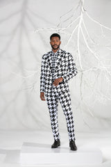 Double-breast Houndstooth Summer Suit (3 piece)