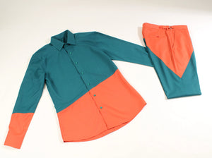 Unisex Pythagorean set Teal & Orange