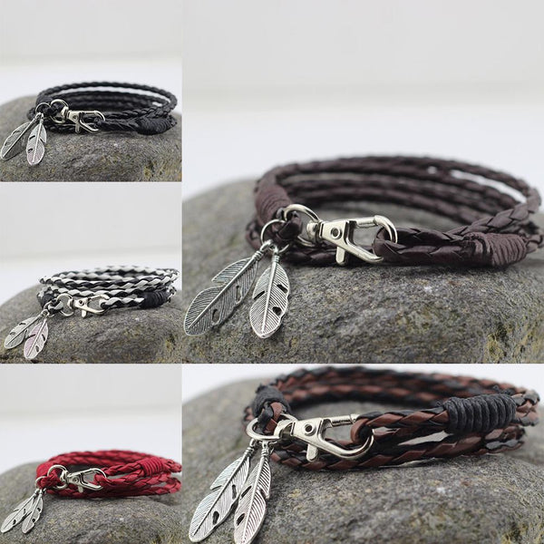 Leather Feather Charm Bracelets - get-accessories