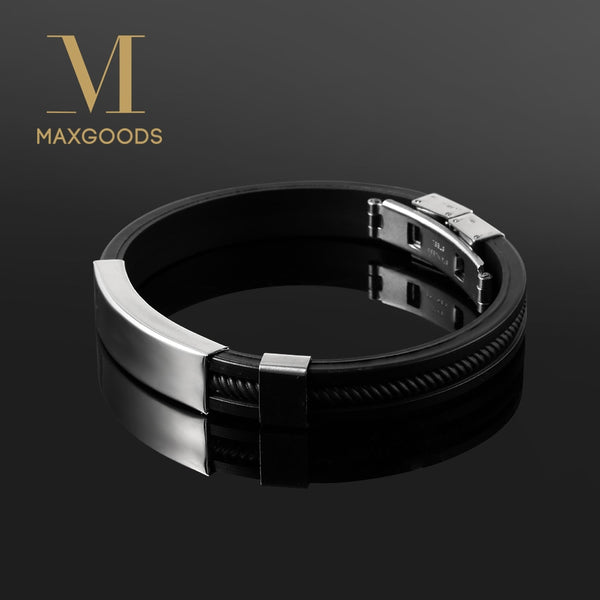 Wristband Silicone Stainless Steel Men Bracelets - get-accessories