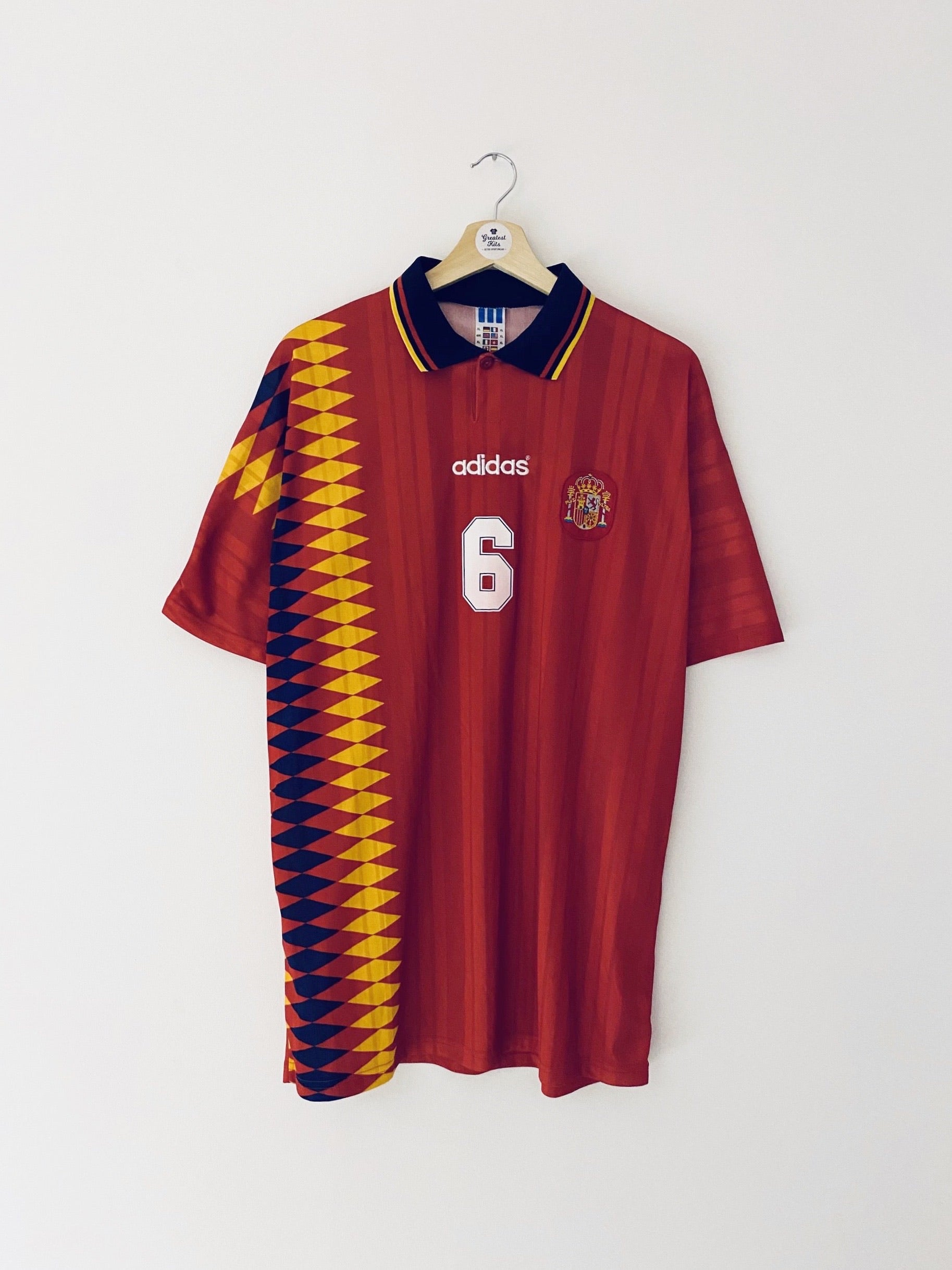1994/96 Spain Home Shirt Hierro #6 (XL) 8/10