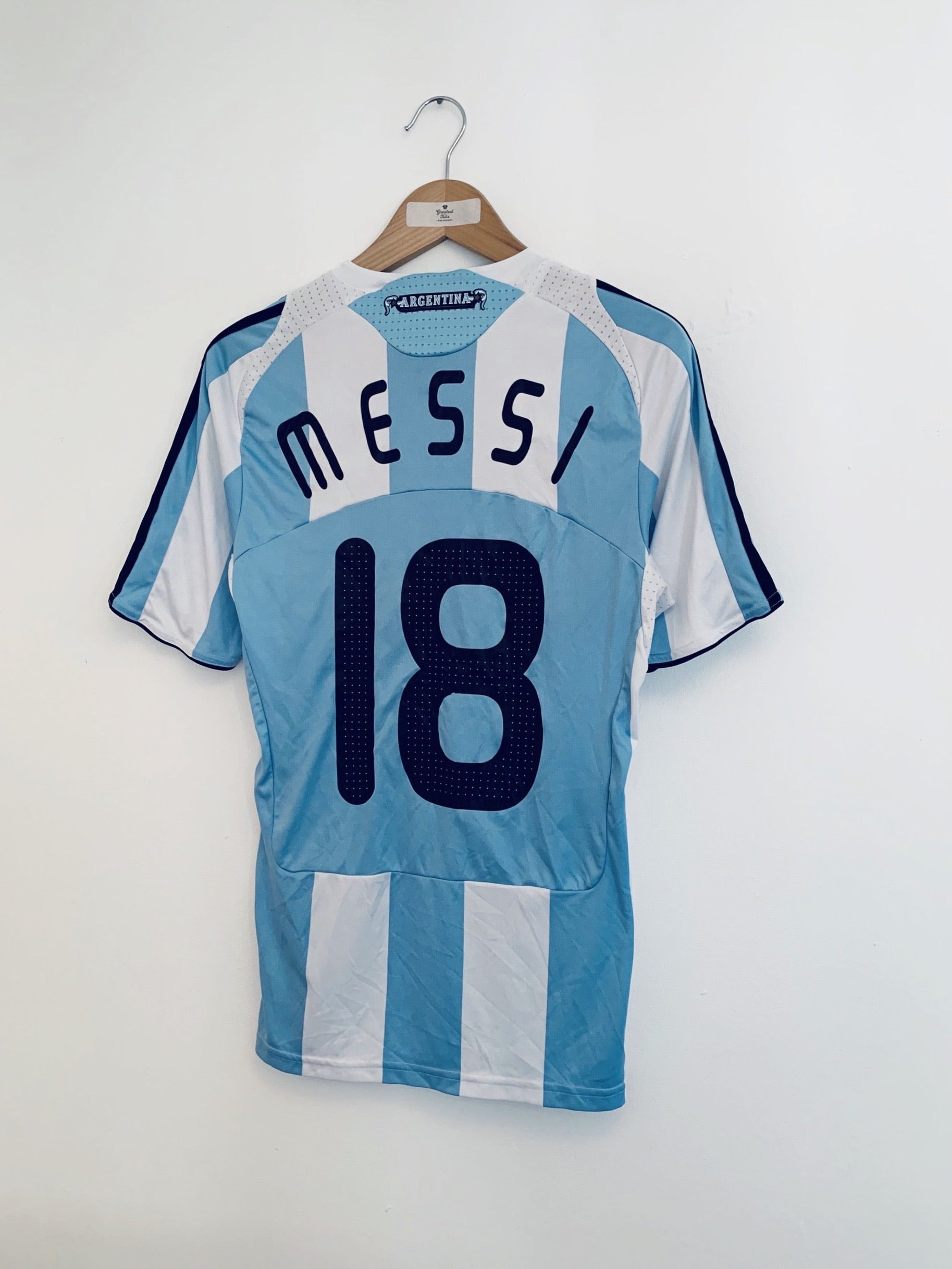 2007/09 Argentina Home Shirt Messi #18 (S) 9/10