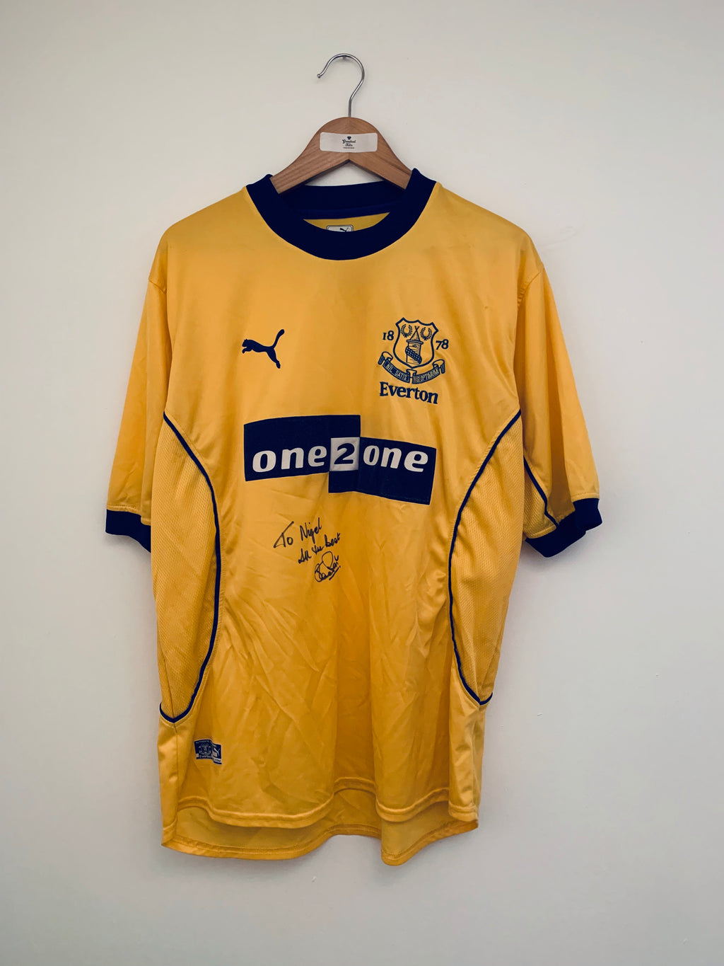 2000/01 Everton Away Shirt *Signed* (L) 9/10