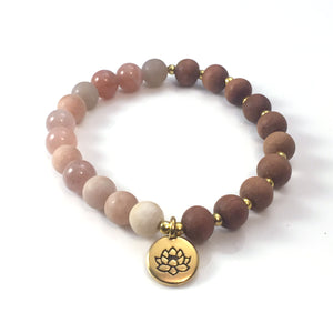 Sunstone, Sandalwood and Lotus Stretch Bracelet