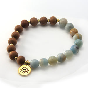 Amazonite and Sandalwood Lotus Stretch Bracelet