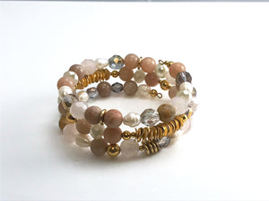 Sunstone, Rose Quartz,  Crystal & Pearl Memory Wire Bracelet