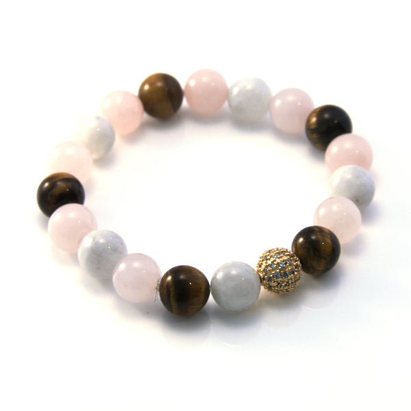 Moonstone, Rose Quartz, Tiger Eye Pavé Stretch Bracelet