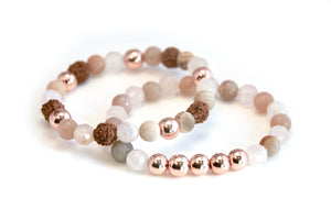 Rose Quartz, Sunstone & Rose Gold Stretch Bracelet