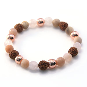 Rose Gold, Rudraksha and Sunstone Bracelet