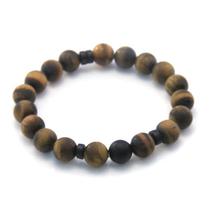 Matte Tiger Eye and Onyx Beaded Bracelet