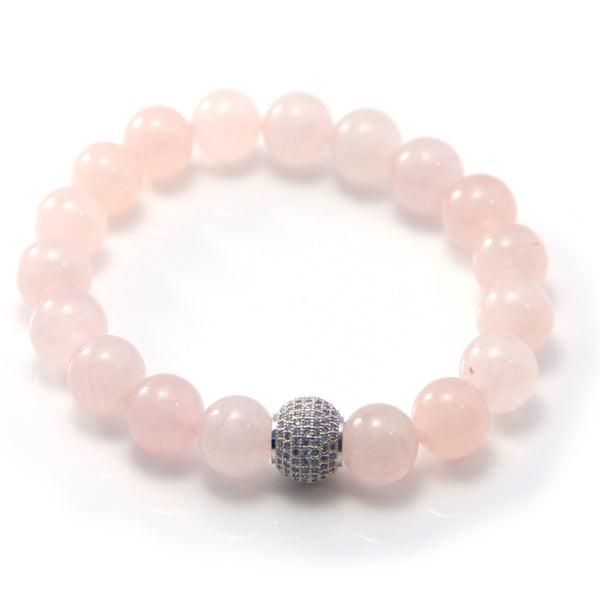 Rose Quartz Pavé Stretch Bracelet
