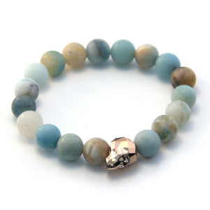 Amazonite and Swarovski Skull Single Bracelet