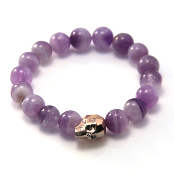 Amethyst and Rose Gold Swarovski Skull Stretch Bracelet