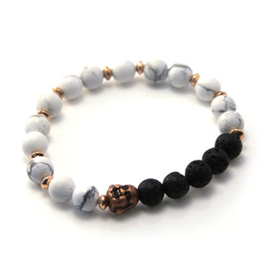 White Howlite, Lava & Copper Single Bracelet