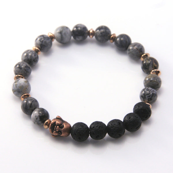 Copper Buddha, Lava and Crazy Lace Agate Stretch Bracelet