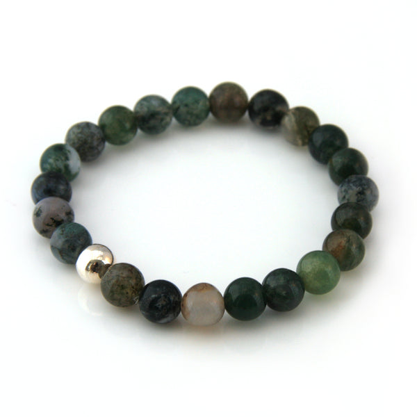 Moss Agate & Sterling Silver Single Bracelet