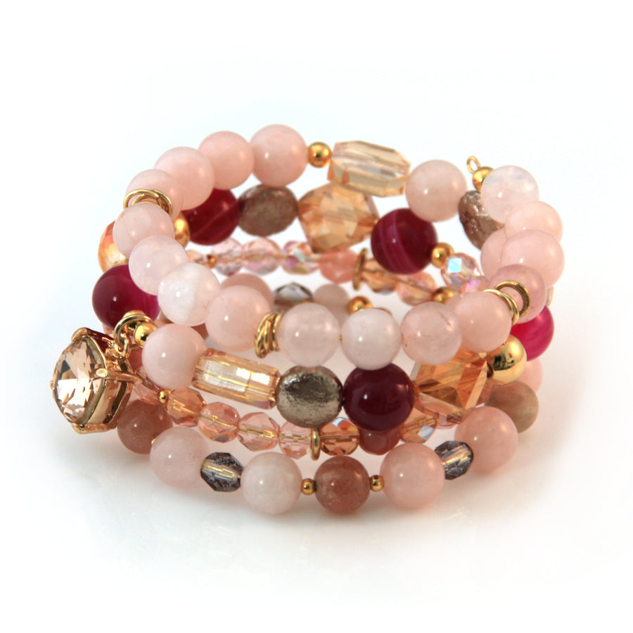 Rose Quartz, Crystal and Agate Coil Bracelet