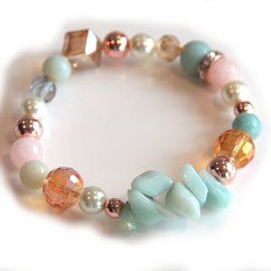 Amazonite, Rose Gold and Crystal Bracelet