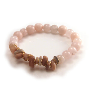 Sunstone Chip & Rose Quartz Bracelet