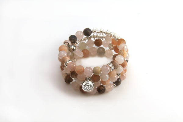 Sunstone and Rose Quartz Memory Wire Wrap Bracelet