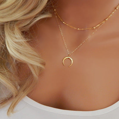 Dual Strand Gold Horn Necklace