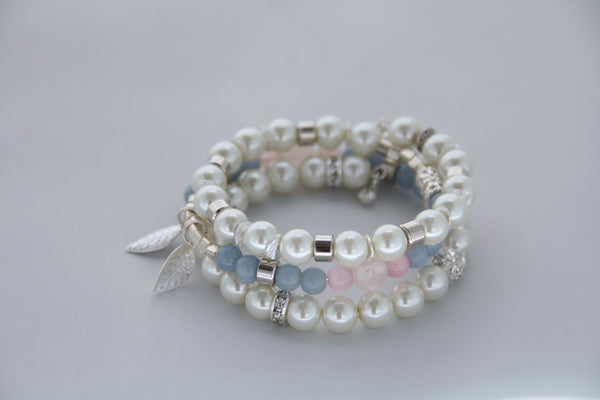 Pearl, Rose Quartz and Angelite Memory Wire Wrap Bracelet