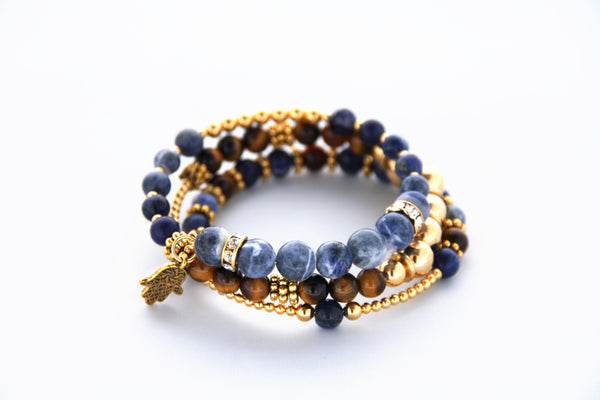 Blue Sodalite and Gold Memory Wire Bracelet