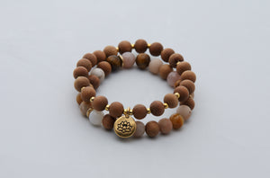Gold Lotus & Sandalwood Stretch Bracelet