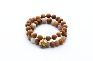 Buddha, Sunstone, Tiger Eye and Sandalwood Bracelet