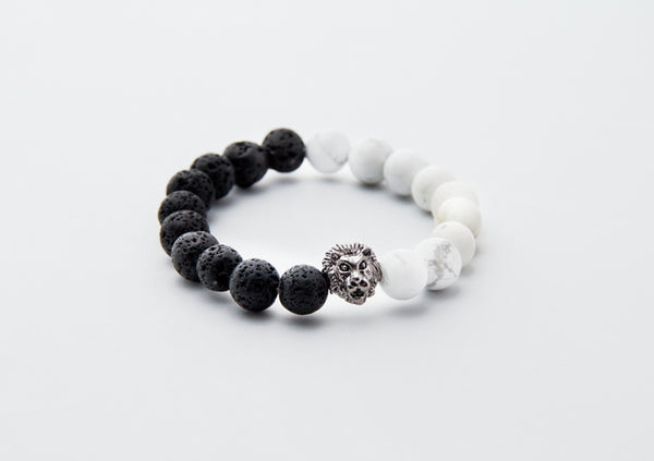 Lion, Lava & Howlite Stretch Bracelet