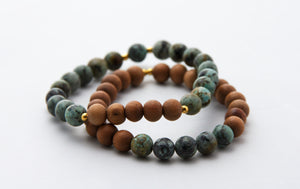 Sandalwood and African Turquoise Stretch Bracelet