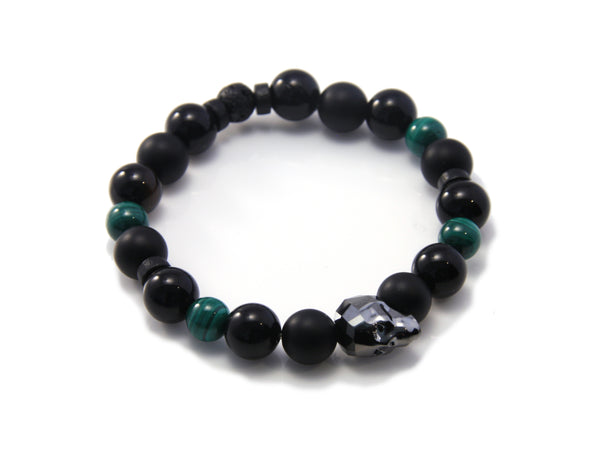 Swarovski Skull, Malachite, Lava and Onyx Stretch Bracelet