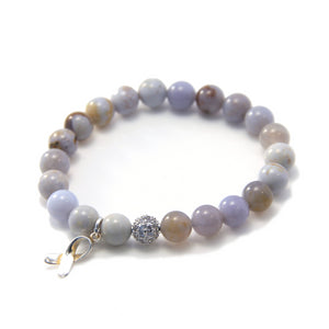 Chalcedony and Sterling Silver Stretch Bracelet