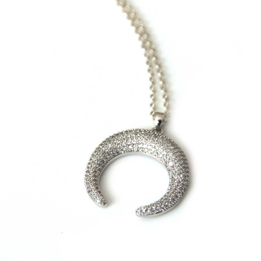 Pave Silver Horn Necklace