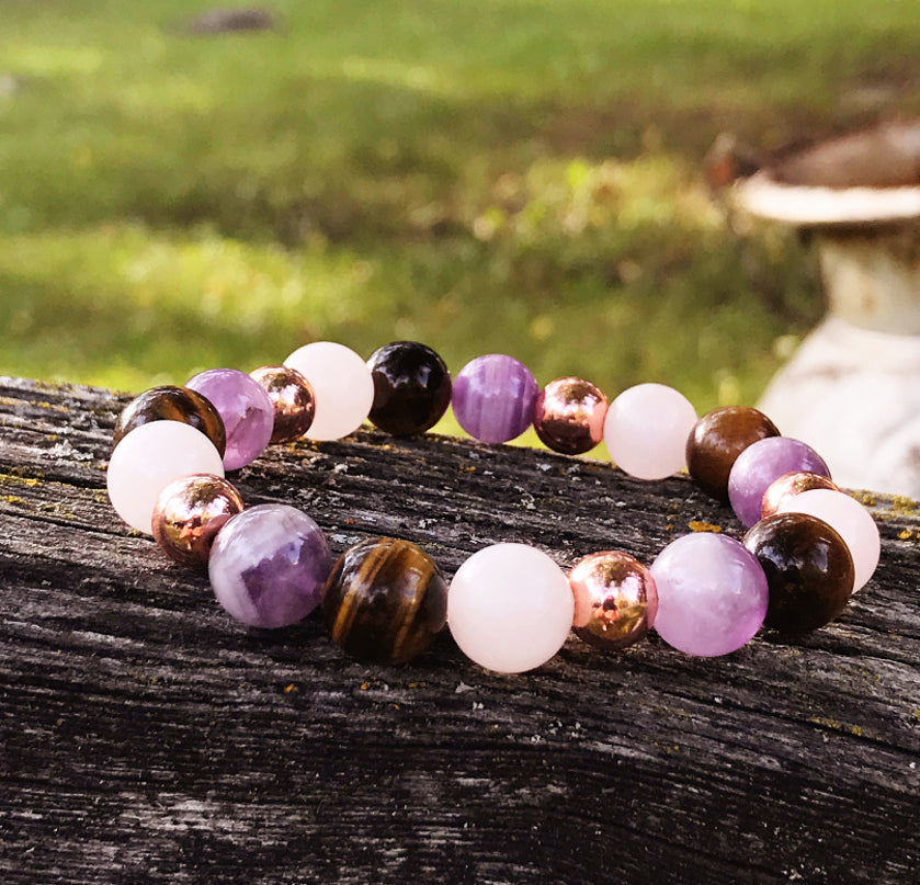 Amethyst, Rose Gold & Tiger Eye Bracelet