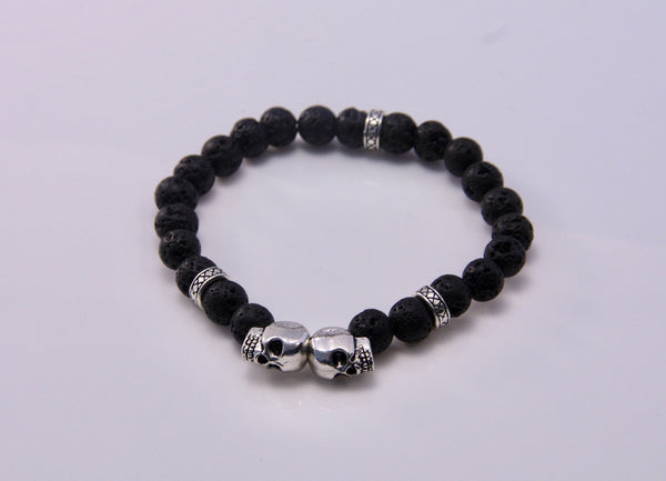 Silver Skull and Lava Stone Stretch Bracelet