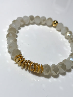 White Chinese Crystal and Gold Stretch Bracelet