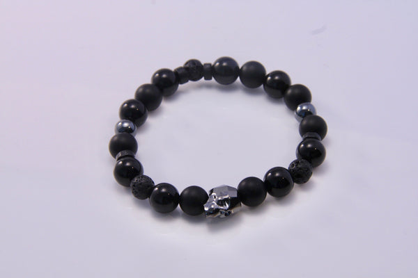Swarovski Skull, Lava and Onyx Stretch Bracelet