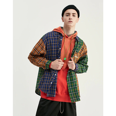 """GO WITH THE FLOW"" PLAID OVERSIZED TURN-DOWN COLLAR"