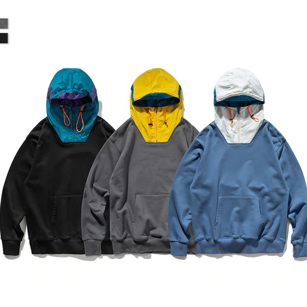 HOODED POUCH LATCH HOODIE - BLUE/BLACK