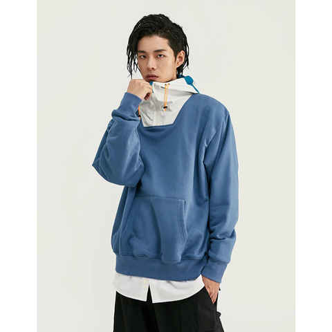 HOODED POUCH LATCH HOODIE - WHITE/BLUE