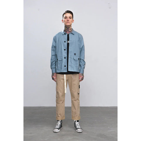 SPRING CASUAL SHIRT GREY BLUE