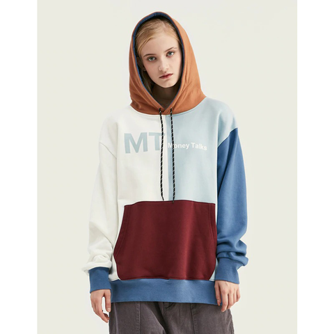 """MONEY TALKS"" MULTI LAYER CONTRAST HOODIE - WHITE/BLUE"
