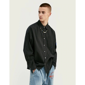 SUPER LONG LINE TURN-DOWN COLLAR CASUAL SHIRT - BLACK